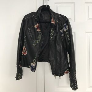 Urban Outfitters Black Embroidered Leather Jacket
